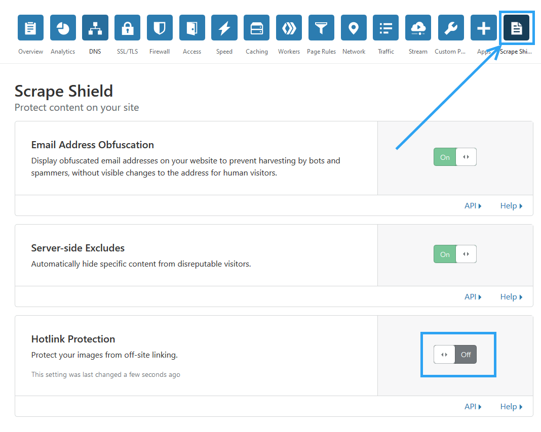 Disable image hotlinking from cloudflare