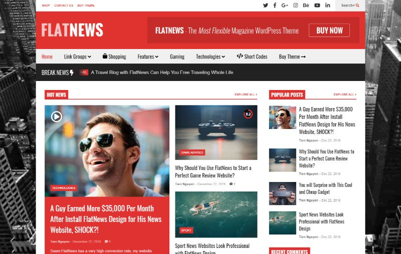 FlatNews Right Sidebar WordPress Theme