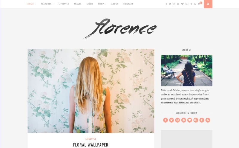 Florence Right Sidebar WordPress Theme