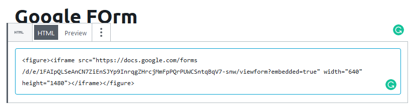 Add Google form code to a post or page
