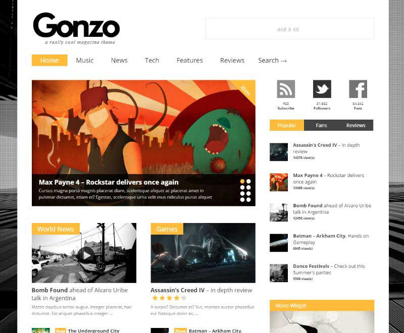 Gonzo Two Columns WordPress Theme