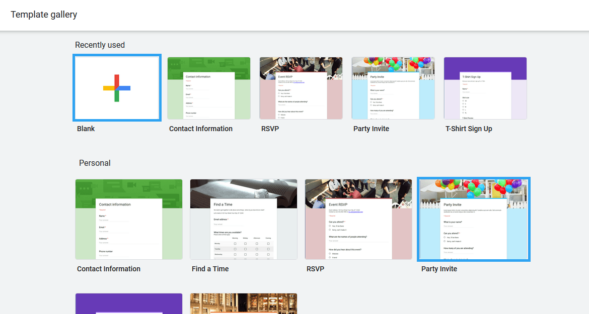 Google Drive form template gallery