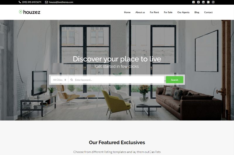Houzez Two Columns WordPress Theme