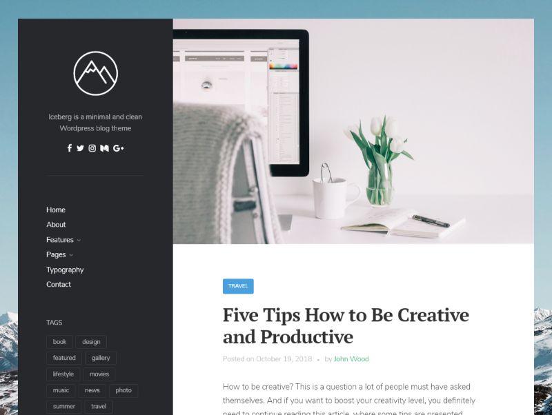 Iceberg Left Sidebar WordPress Theme
