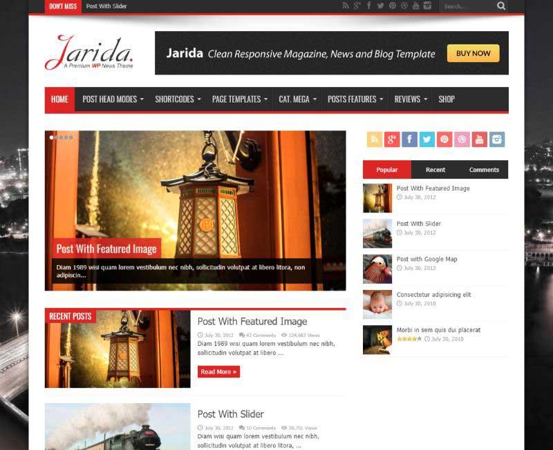 Jarida Three Column WordPress Theme
