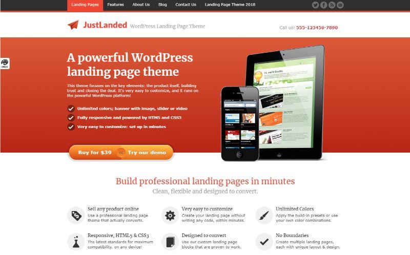 JustLanded One Column WordPress Theme