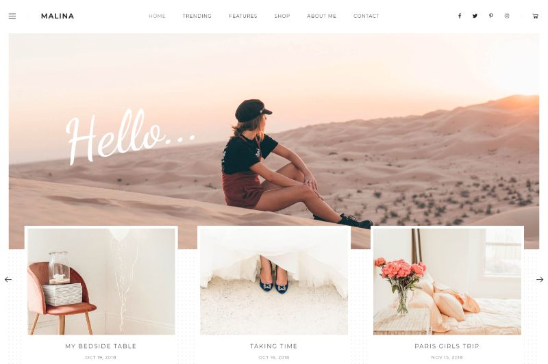 Malina Right Sidebar WordPress Theme