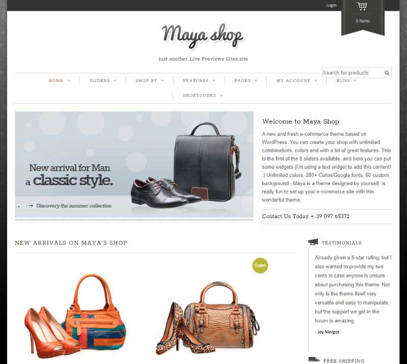 MayaShop Two Columns WordPress Theme