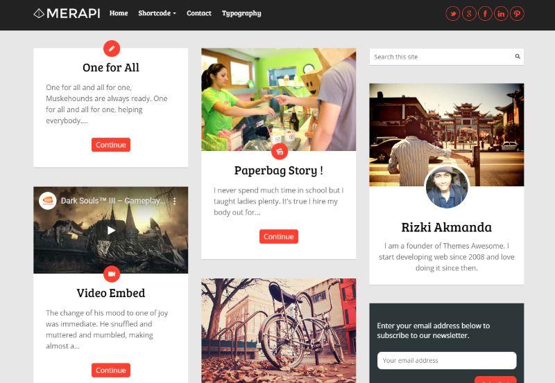 Merapi Grid WordPress Theme