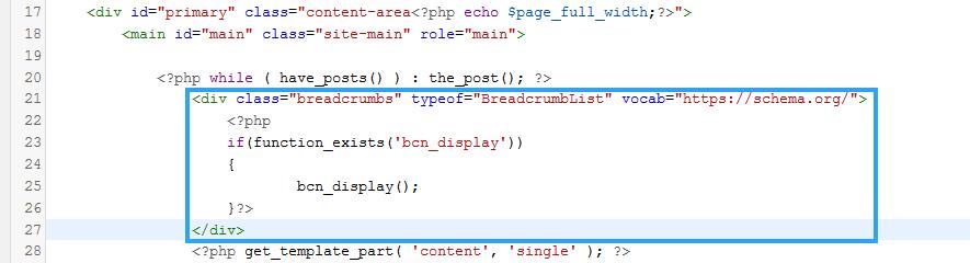 Display breadcrumbs by modifying theme single file