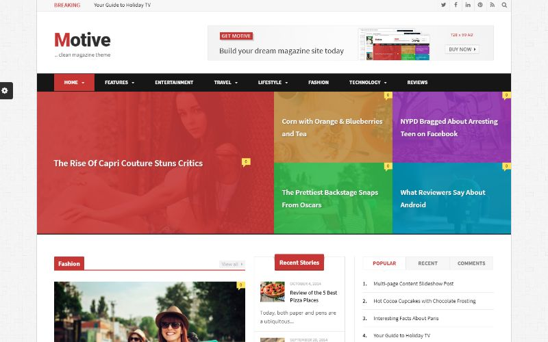 Motive Right Sidebar WordPress Theme