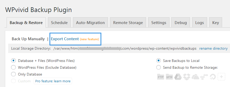 Open export import page WPvivid Backup plugin