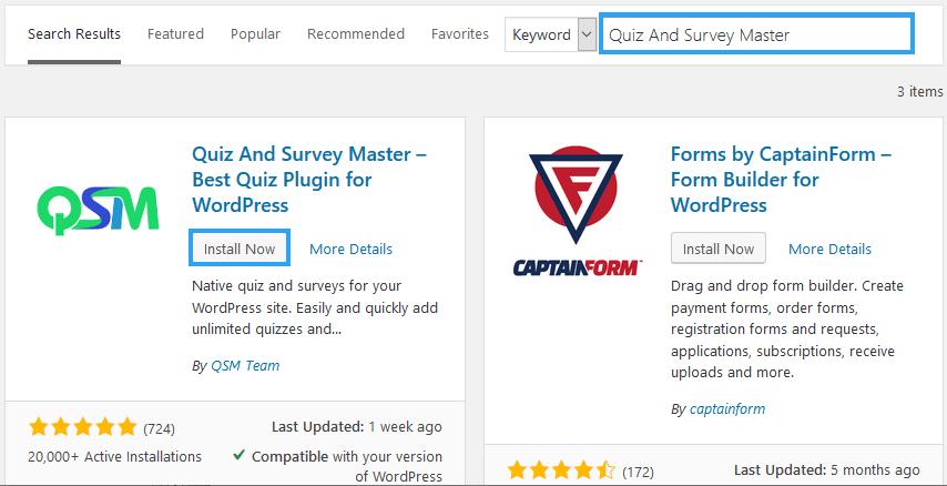 Install Quiz And Survey Master WP Plugin