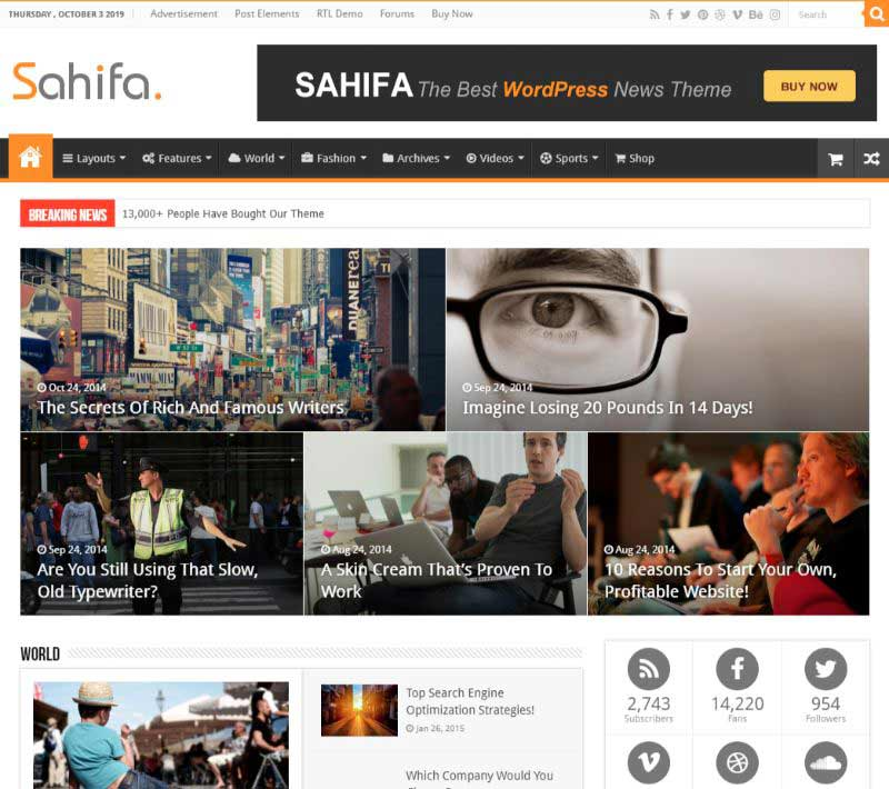 Sahifa Two Columns WordPress Theme