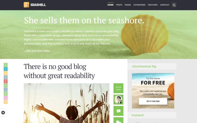 Seashell Right Sidebar WordPress Theme
