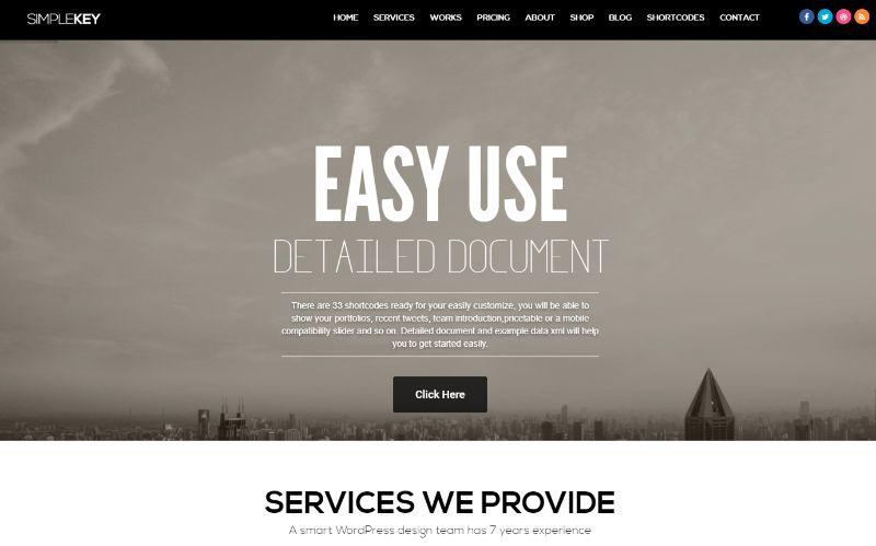 SimpleKey One Column WordPress Theme