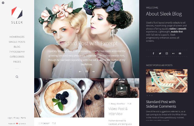 Sleek Left Sidebar WordPress Theme