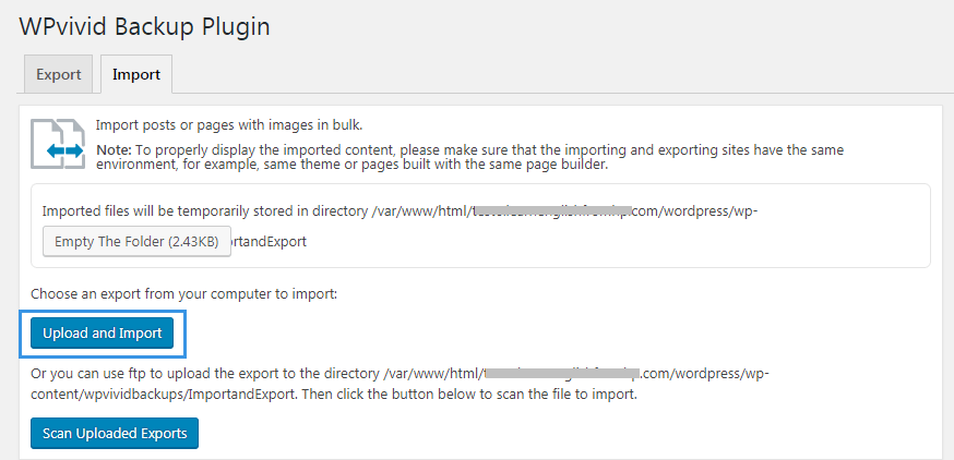 Upload import exported posts pages from computer