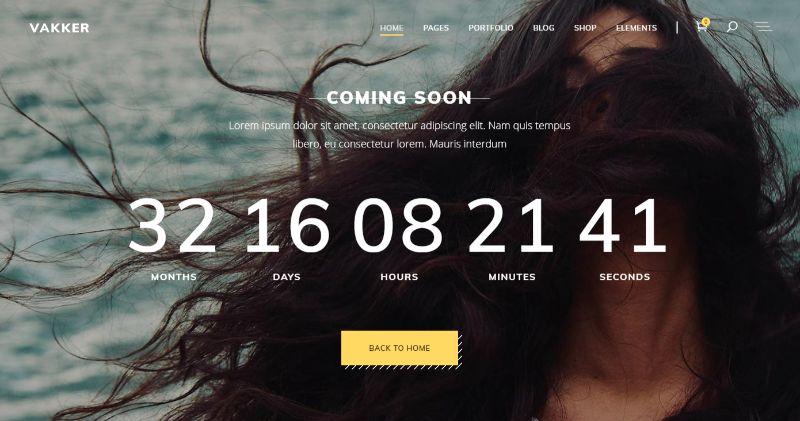 Vakker Coming Soon WordPress Theme