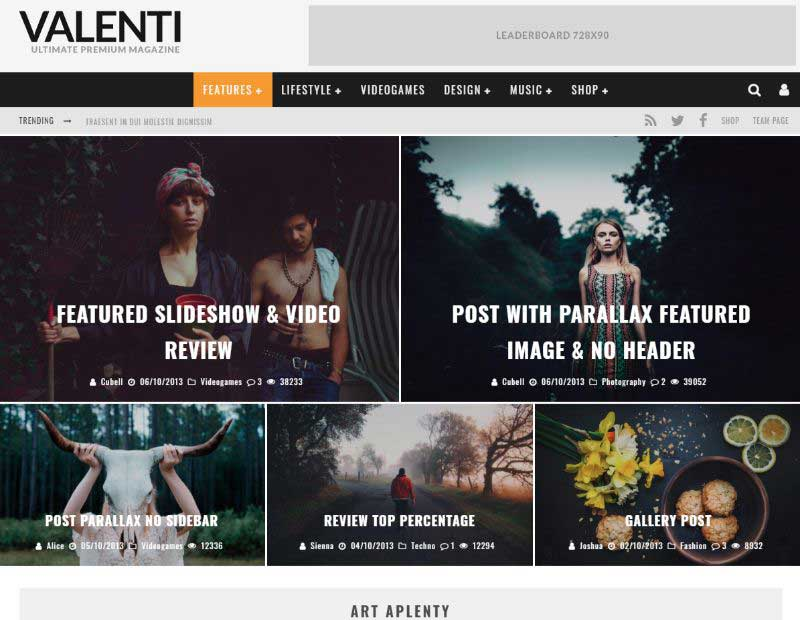 Valenti Two Columns WordPress Theme