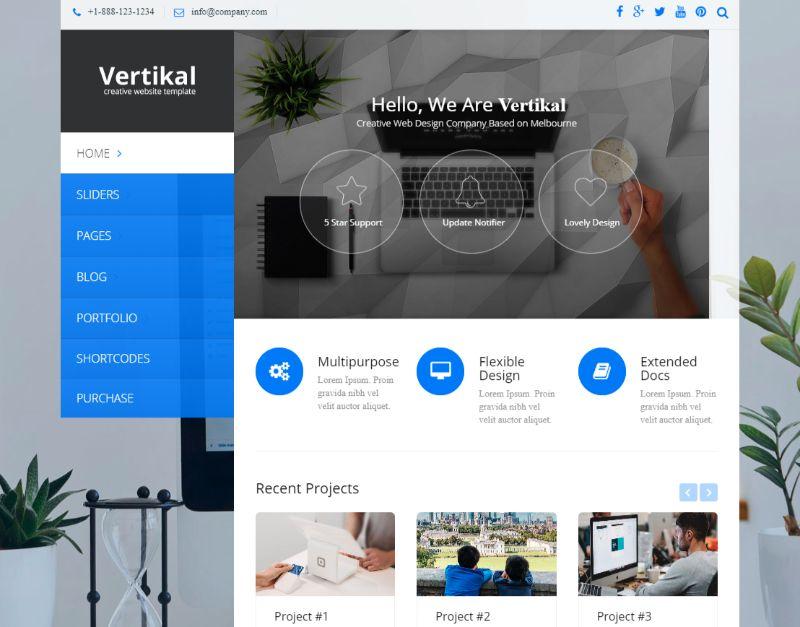 Vertikal Left Sidebar WordPress Theme