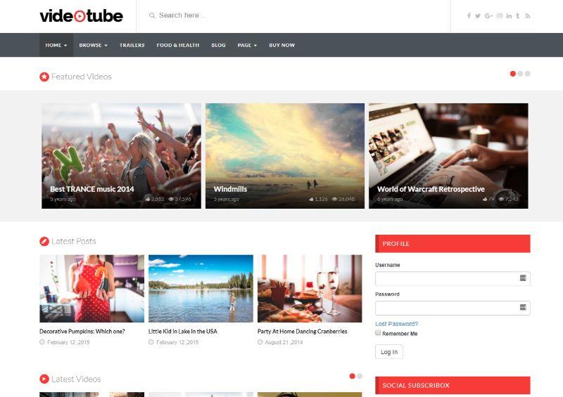 VideoTube Three Columns WordPress Theme