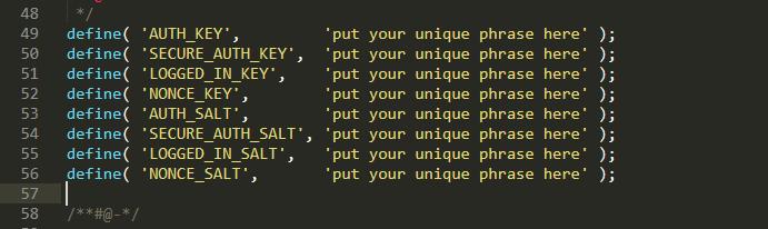 Enter WordPress security keys and salt keys in wp-config file