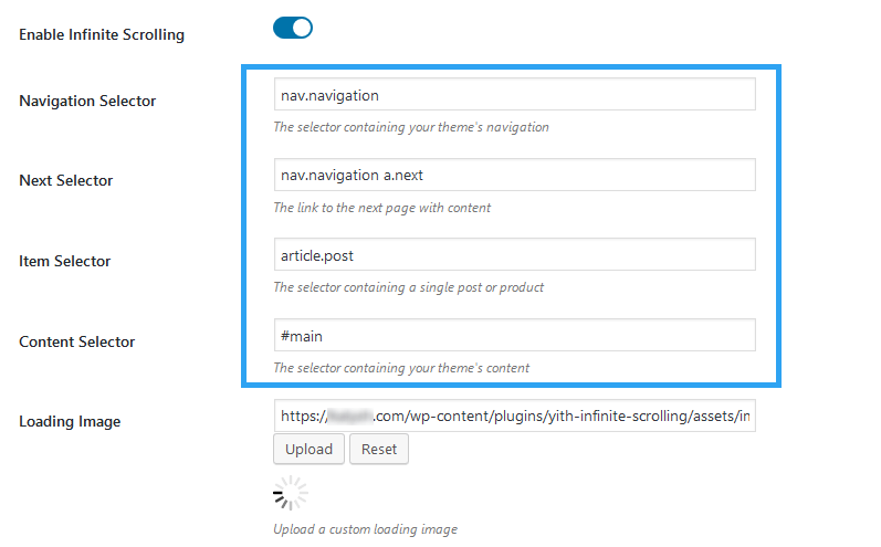 YITH infinite scrolling settings