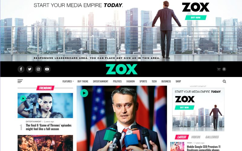 Zox News Right Sidebar WordPress Theme