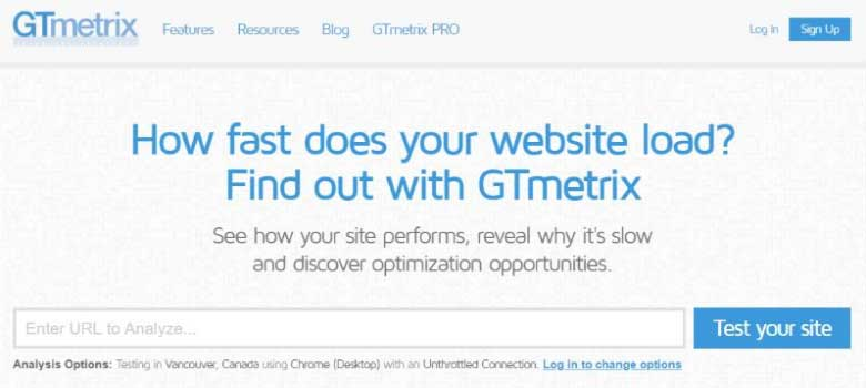 GTmetrix WordPress speed testing tool