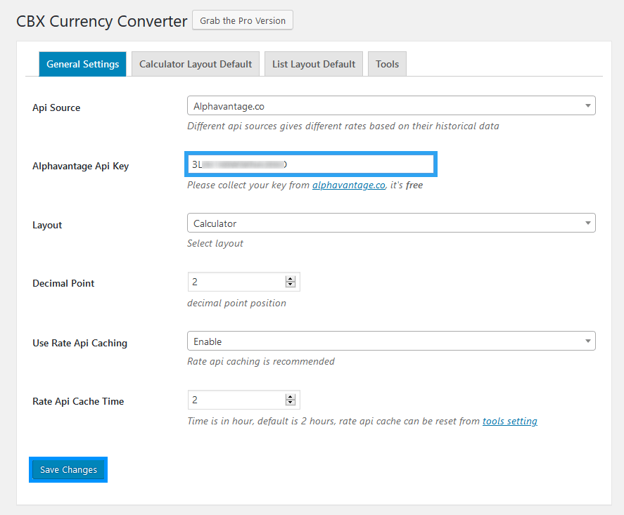 CBX Currency Converter plugin settings