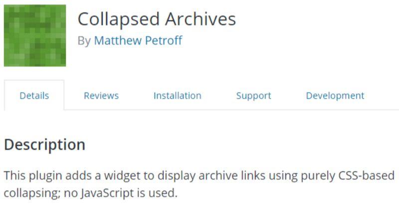 Collapsed Archives WordPress plugin