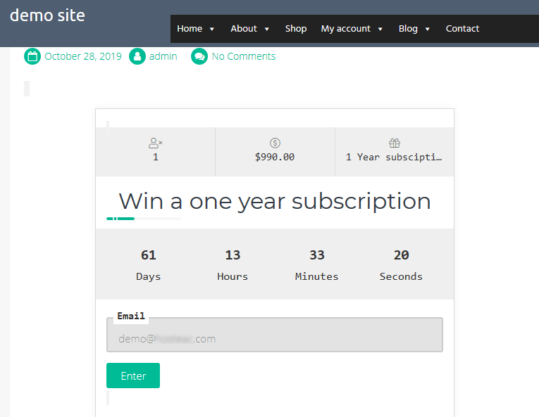 Display the giveaway