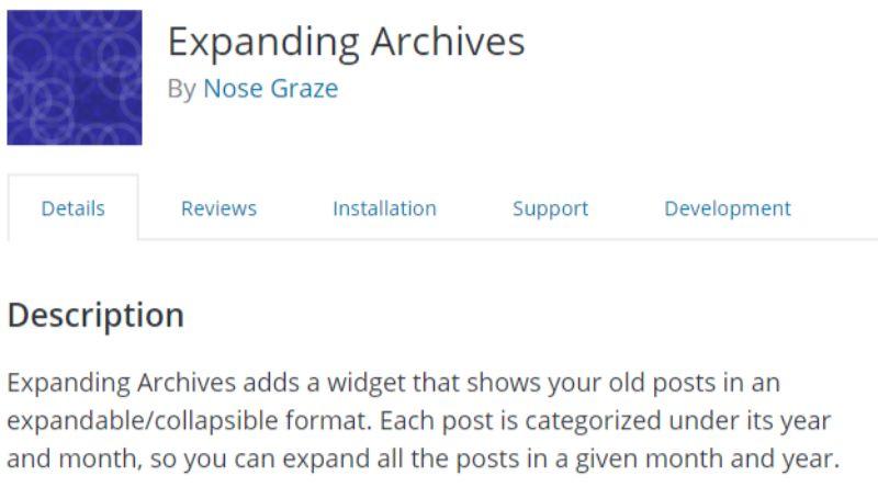Expanding Archives WordPress plugin