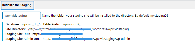 Give staging site name