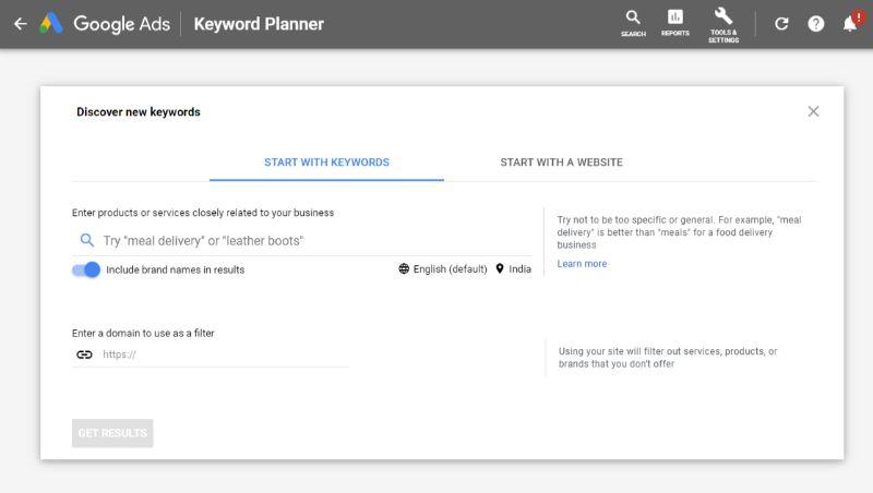 Google Keyword Planner Free Keyword Tool