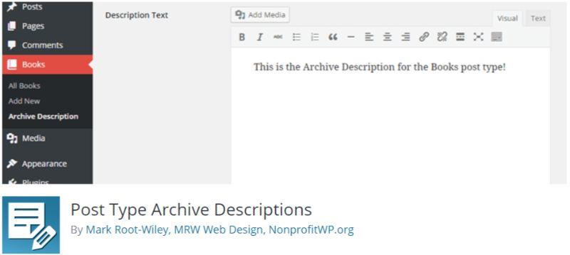 Post Type Archive Descriptions plugin