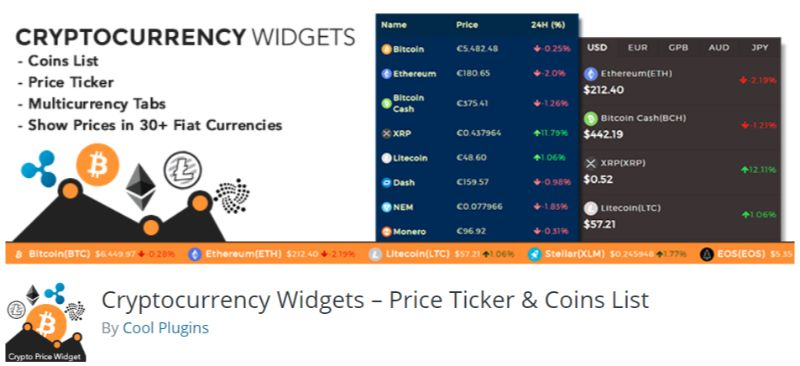 Price Ticker Coin List WordPress Cryptocurrency Bitcoin plugin