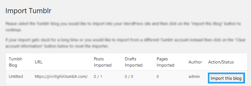 Select a Tumblr blog to import