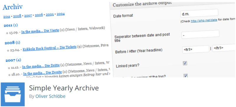 Simple Yearly Archive WordPress plugin