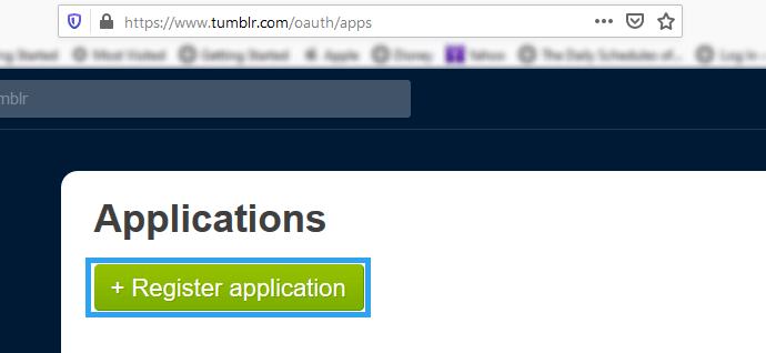 Tumblr Register Application button