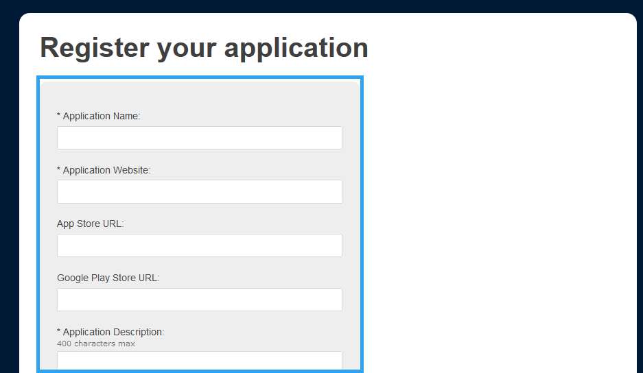 Tumblr Register Your Application