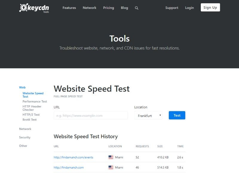 Website Speed Test by KeyCDN