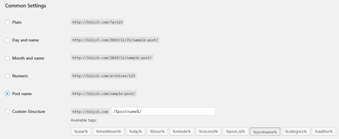 WordPress admin settings permalinks