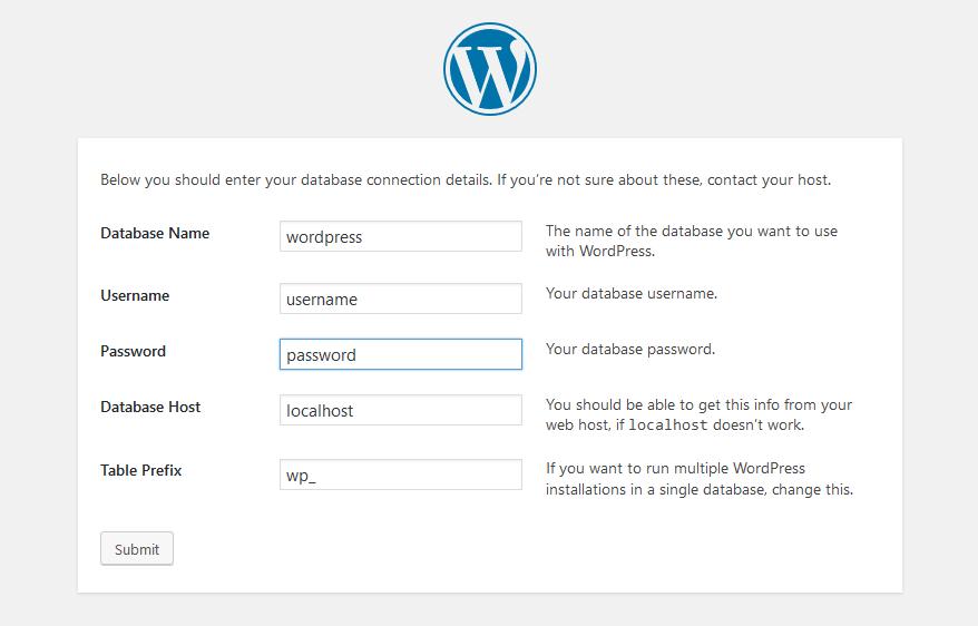 Setup WordPress