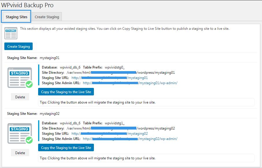 WPvivid backup pro staging sites