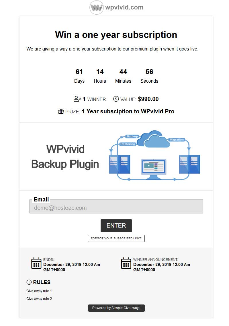 WPvivid giveaway example