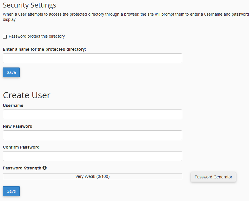 cPanel Security Settings
