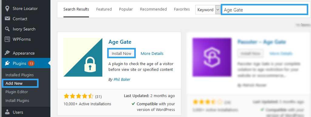 Install Age Gate WordPress plugin
