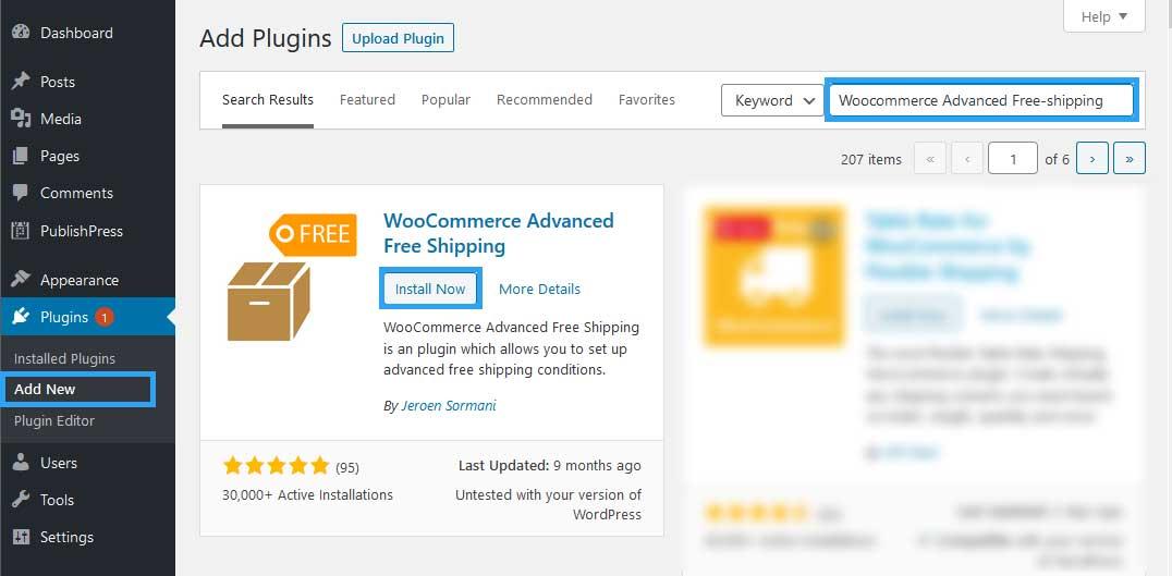 Install WooCommerce Advanced Free Shipping Plugin